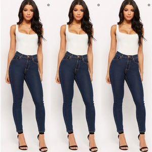 F21 Dark Blue High Rise Skinny Jeans